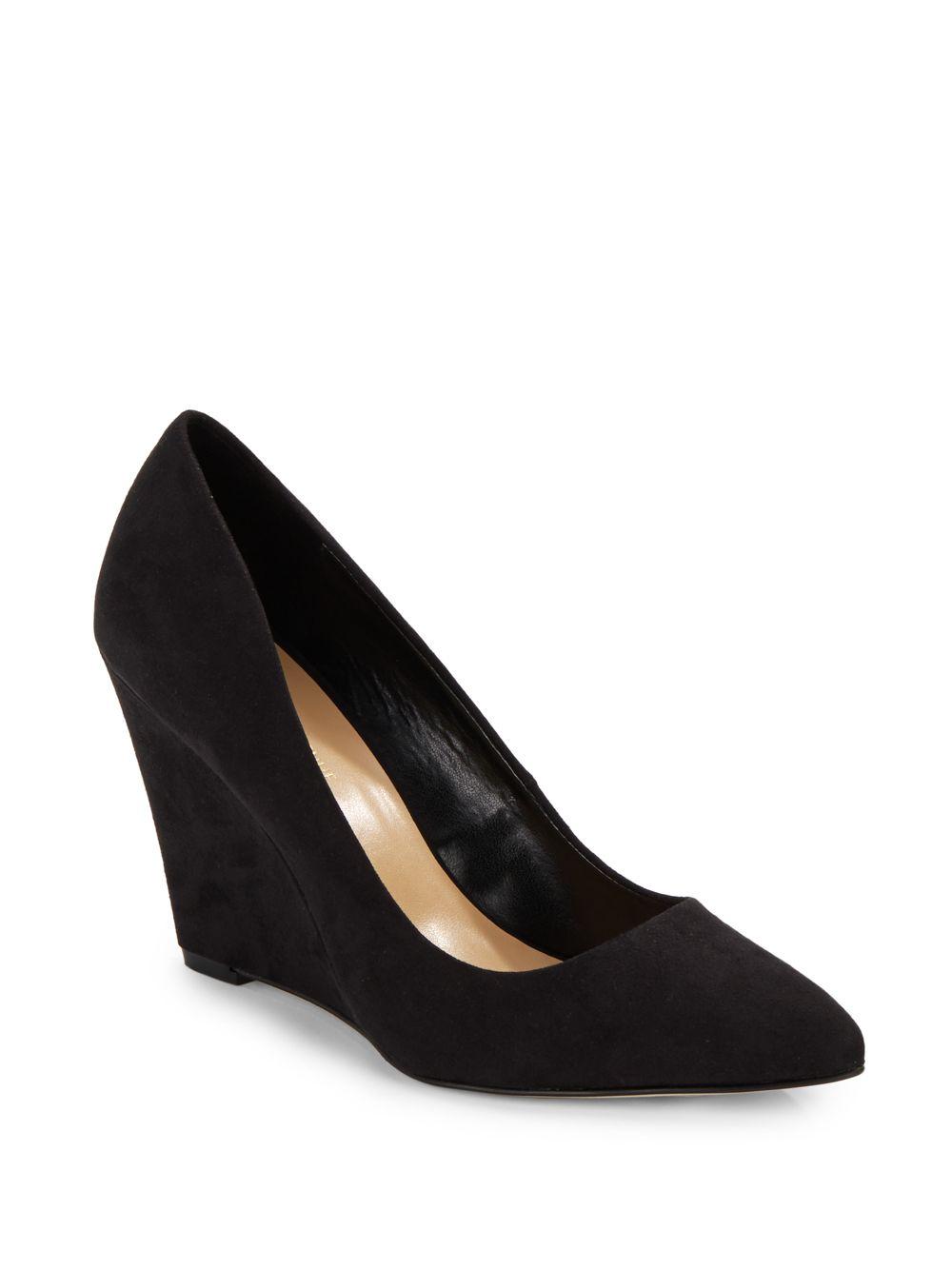 saks fifth avenue velvet point toe wedges in black