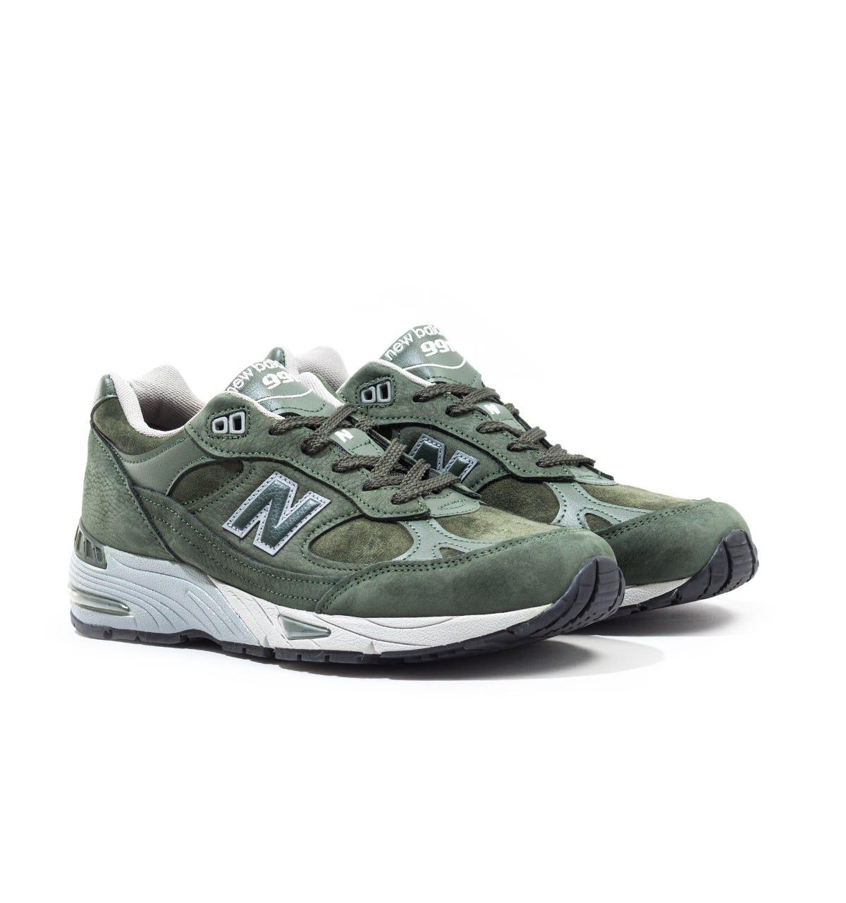 New Balance 991 Made In England Dark Green & Grey Suede Trainers ...