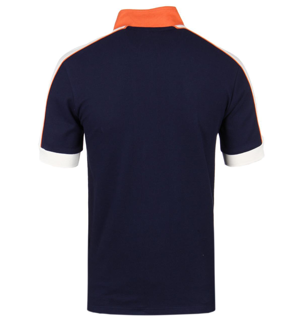 Fila Cotton Navy Funnel Zip Neck Pique Polo Shirt in Blue for Men