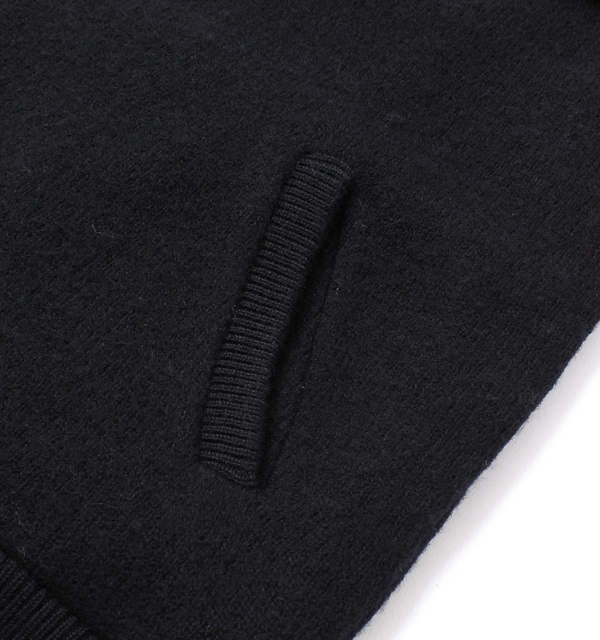 Farah Wool Macauley Black Knitted Bomber Jacket for Men