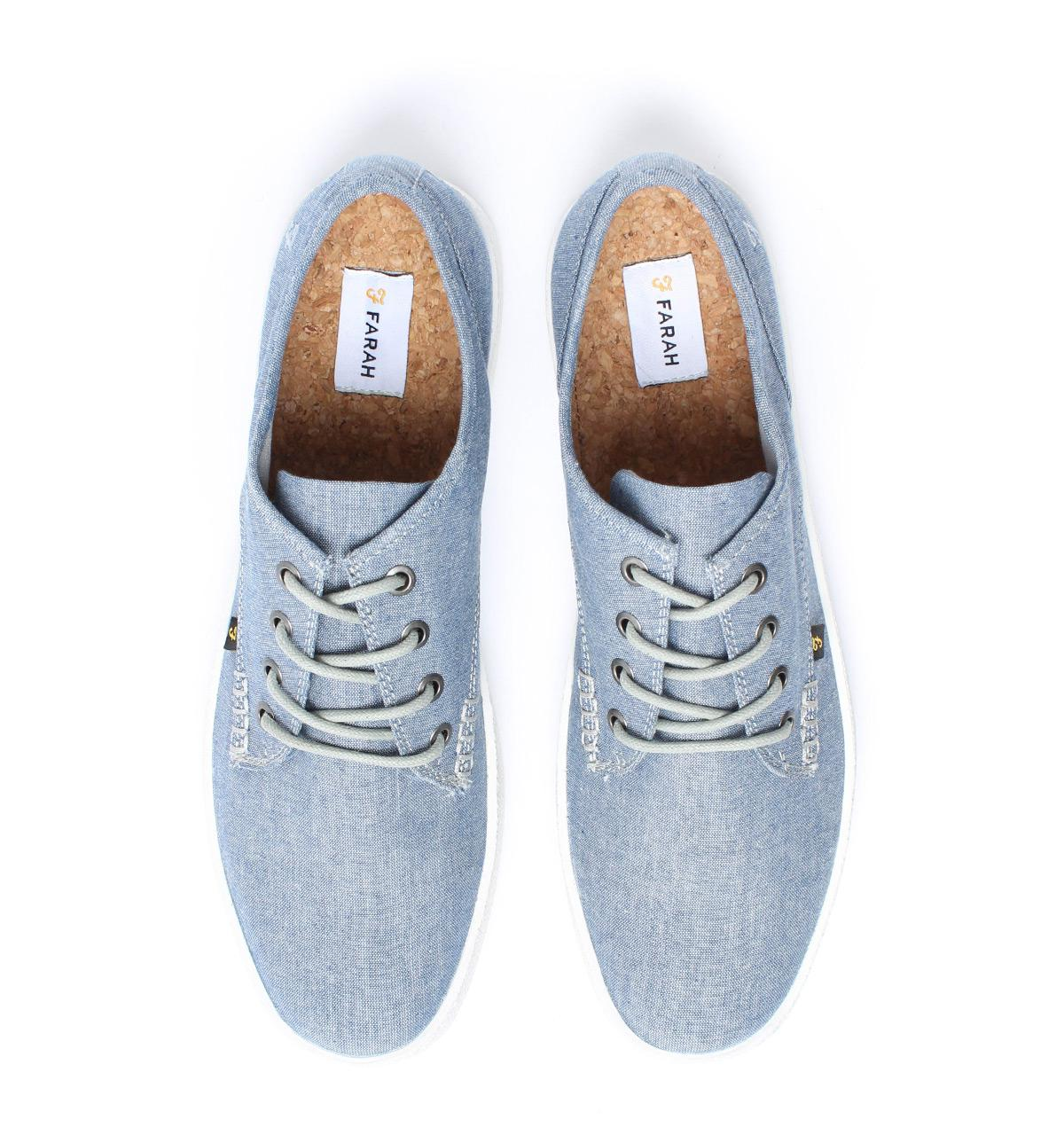 Farah Vintage Blue Chambray Canvas Trainers for Men