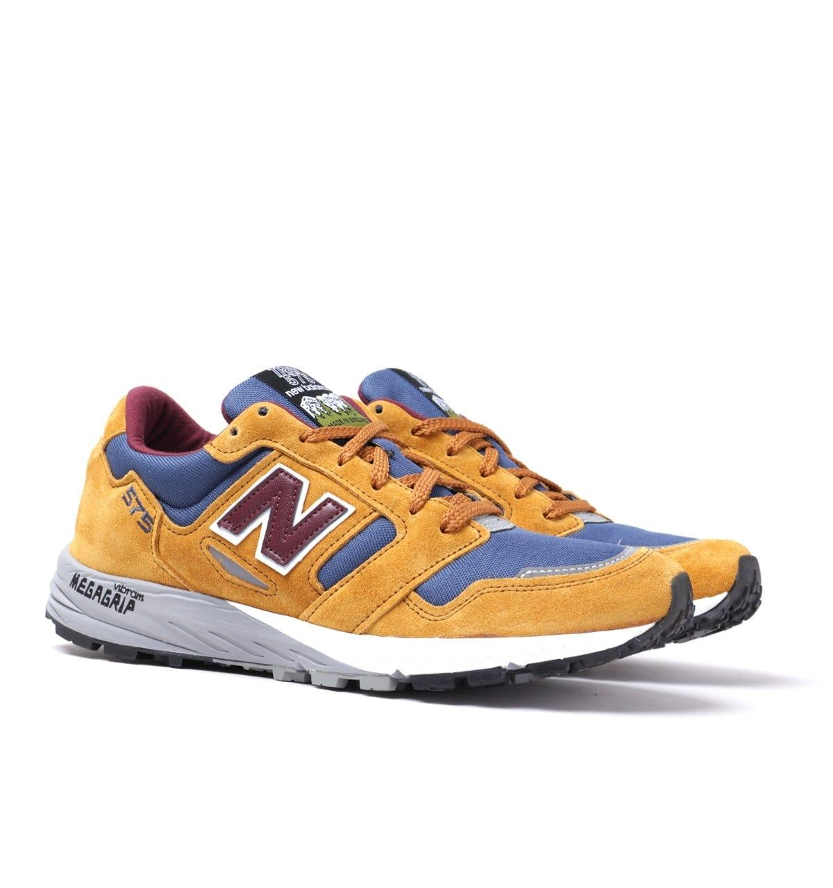 New Balance Trail 575 Suede Mustard & Blue Mesh Trainers for Men ...