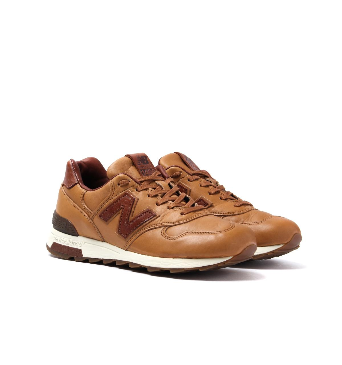 brown leather new balance trainers