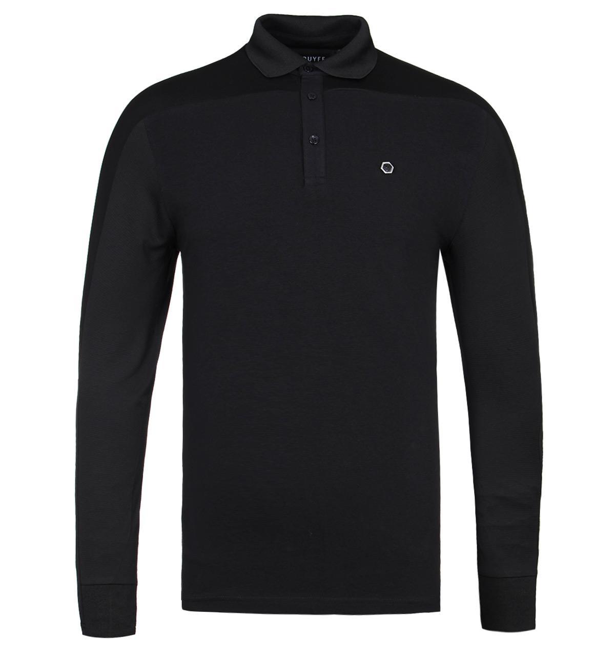 ac5e9a205 Cruyff Clothing Cruyff Amsterdam Black Long Sleeve Polo Shirt in ...