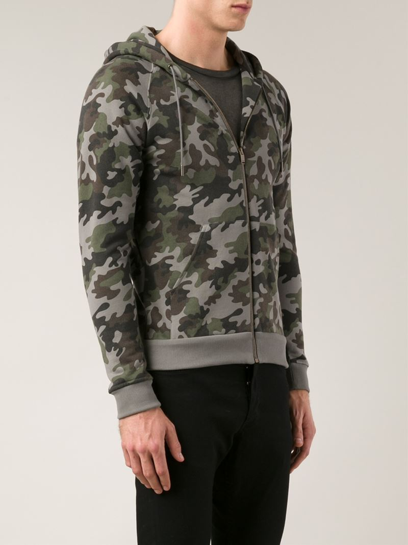 9739fd10a Lyst - Saint Laurent Camouflage Zip-through Hoodie in Gray for Men
