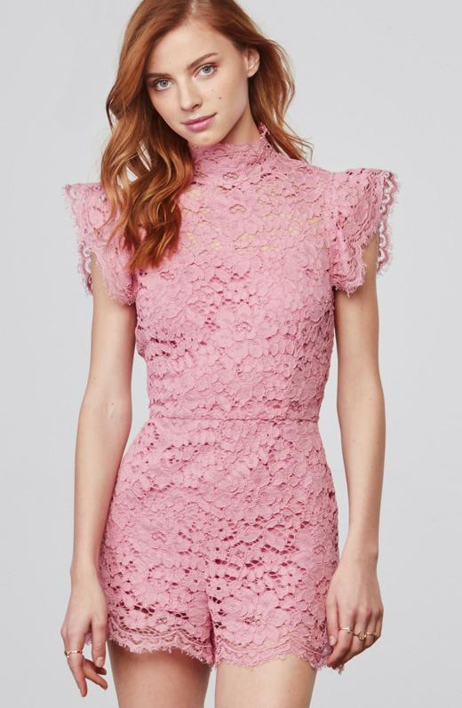 b249411328d Lyst - BB Dakota Priscilla Lace Romper in Pink