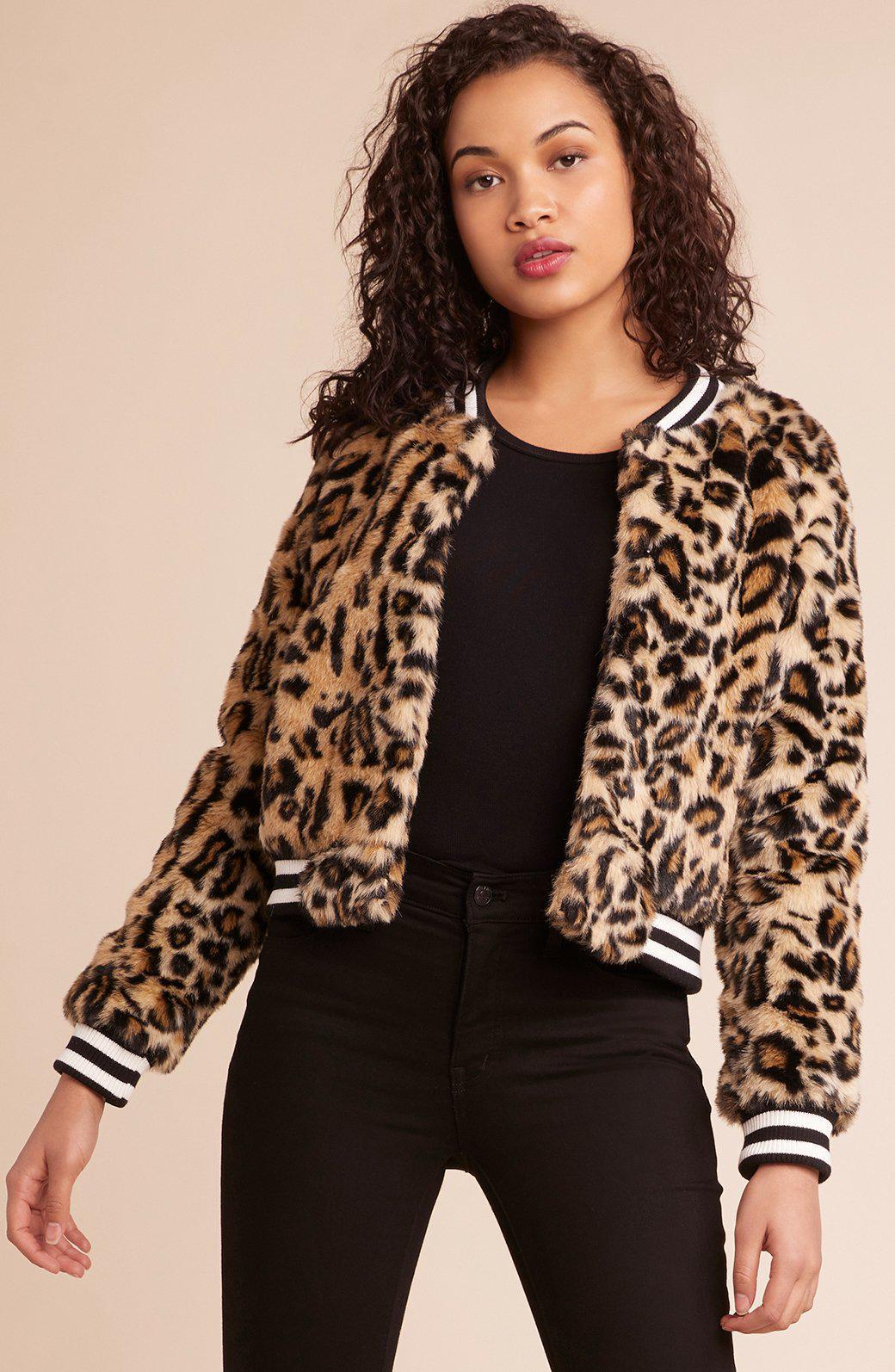 1e7205530f41 Jack BB Dakota Clever Girl Leopard Print Faux Fur Bomber Jacket in ...