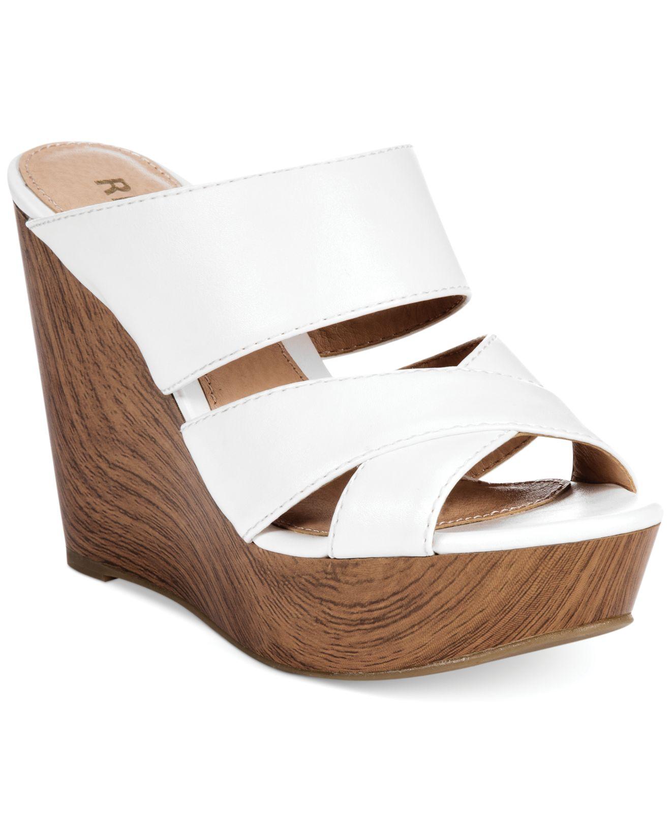 report everlynn platform wedge sandals in white lyst