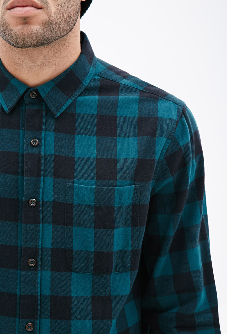 Lyst forever 21 buffalo check flannel shirt in blue for men for Buffalo check flannel shirt jacket