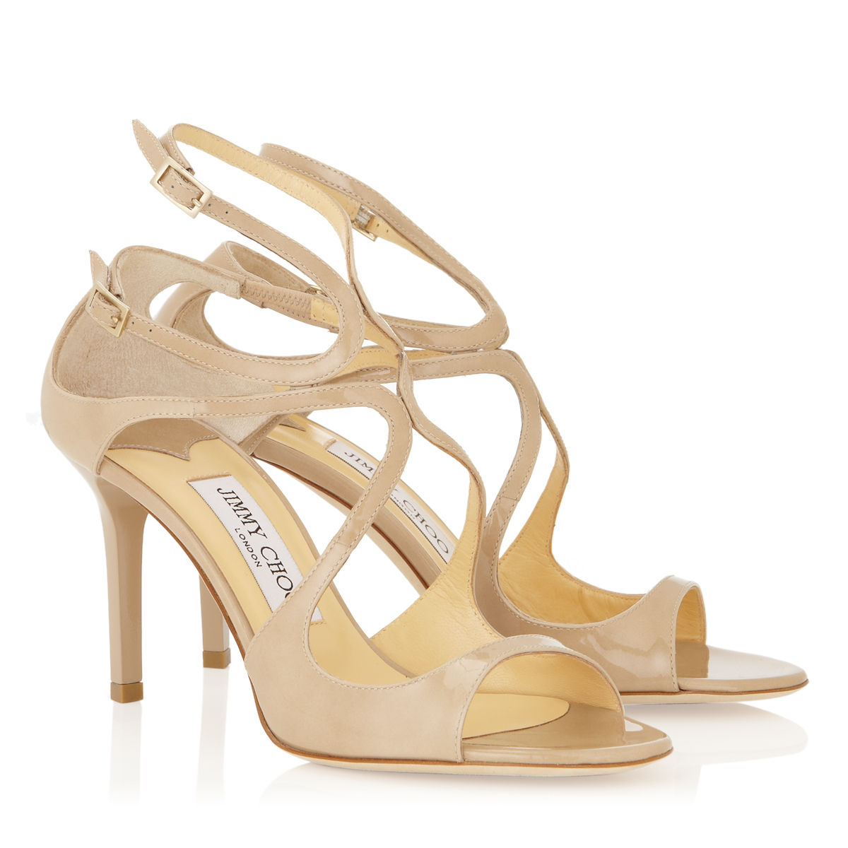 Jimmy Choo Ivette Nude Patent Leather Strappy Sandals In -2021