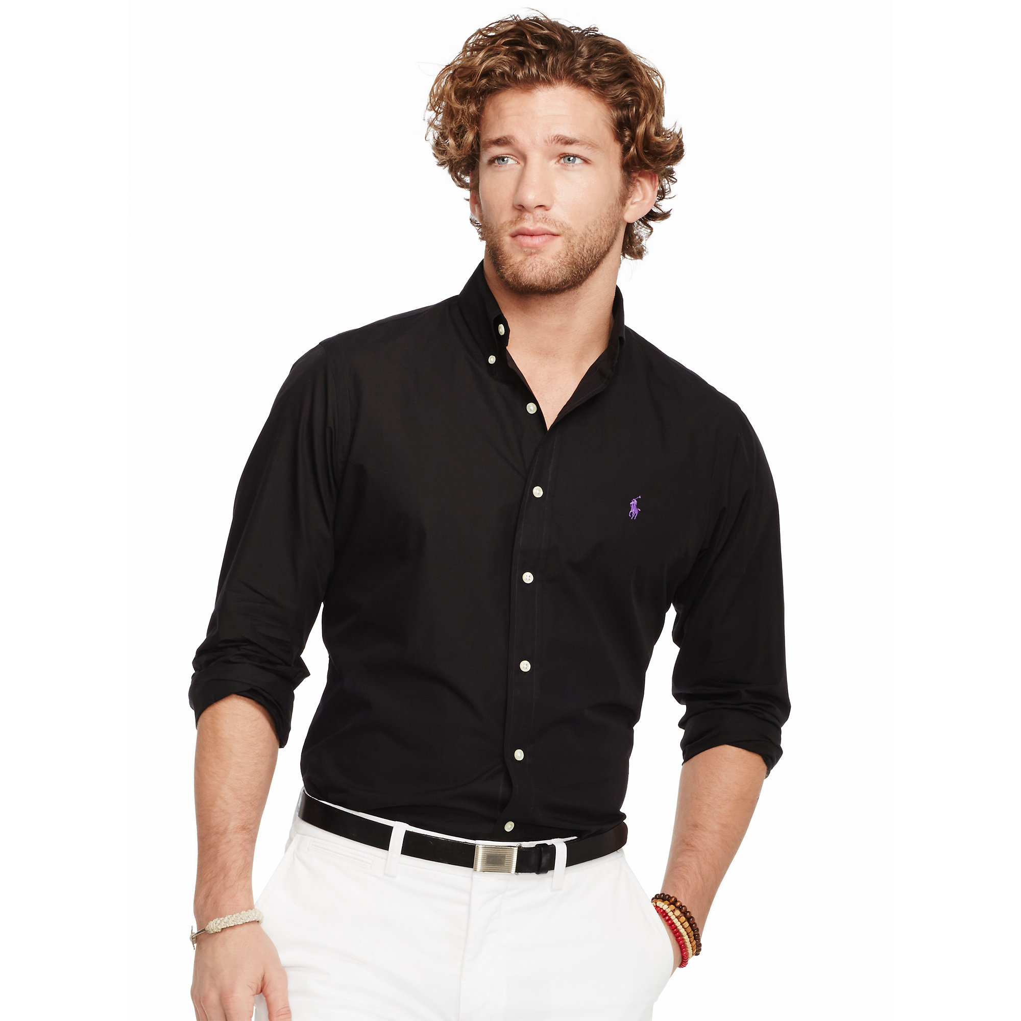 d97ad871 Polo Ralph Lauren Black Slim-fit Solid Poplin Shirt for men