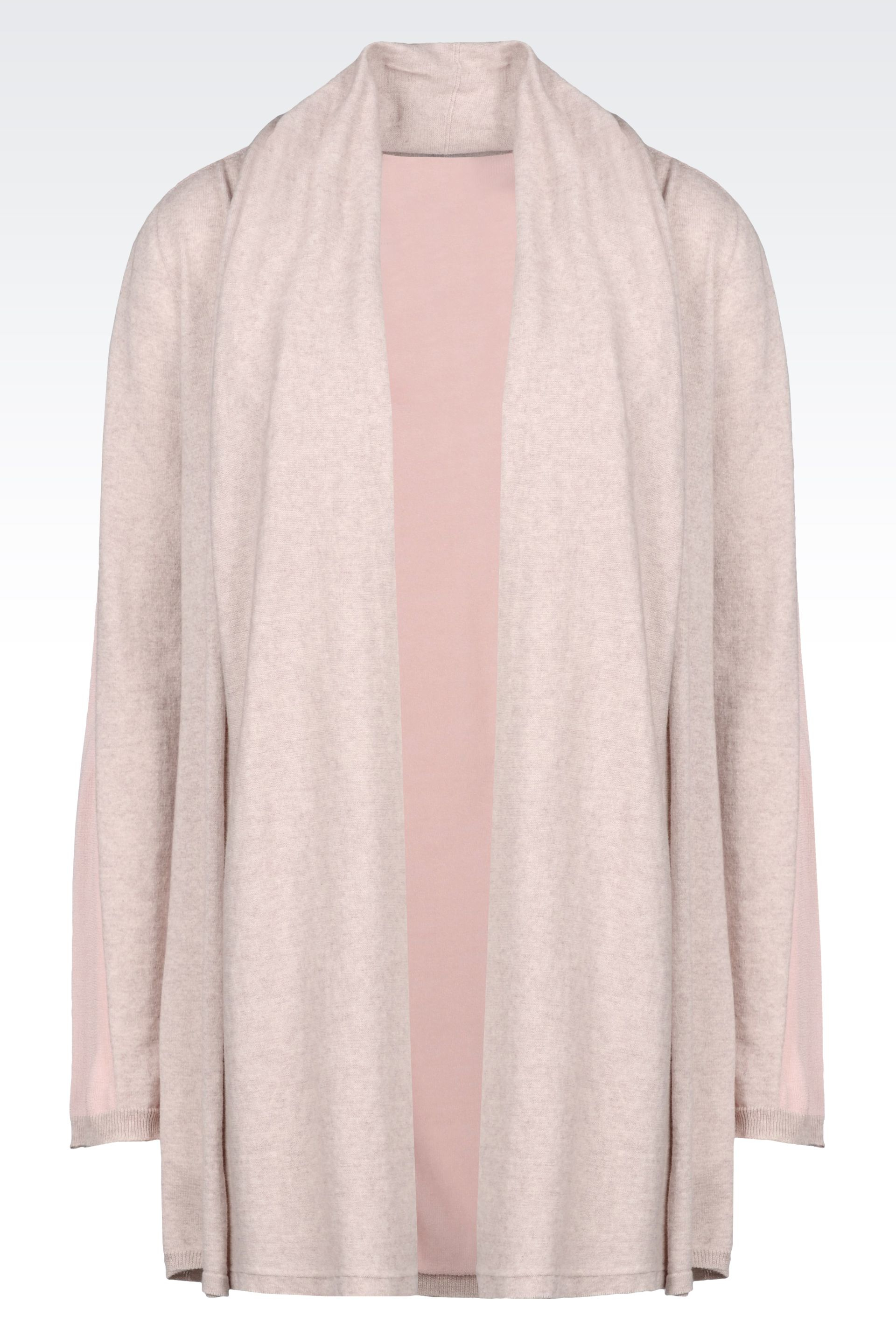 Armani Two-Colour Long Cardigan In Cotton And Cashmere in Natural ...
