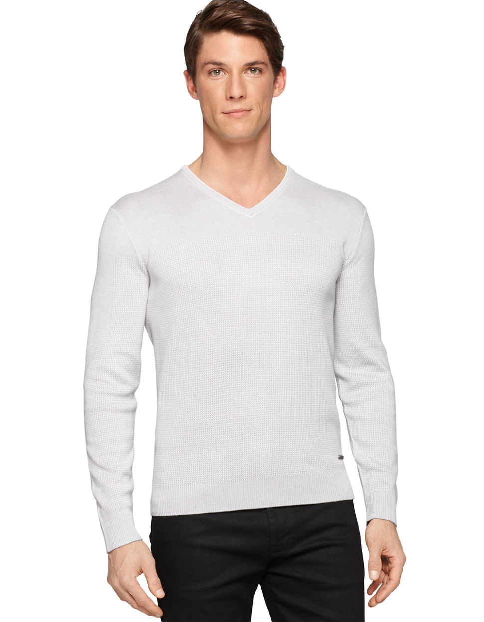 calvin klein silk blend pullover in gray for men lyst. Black Bedroom Furniture Sets. Home Design Ideas