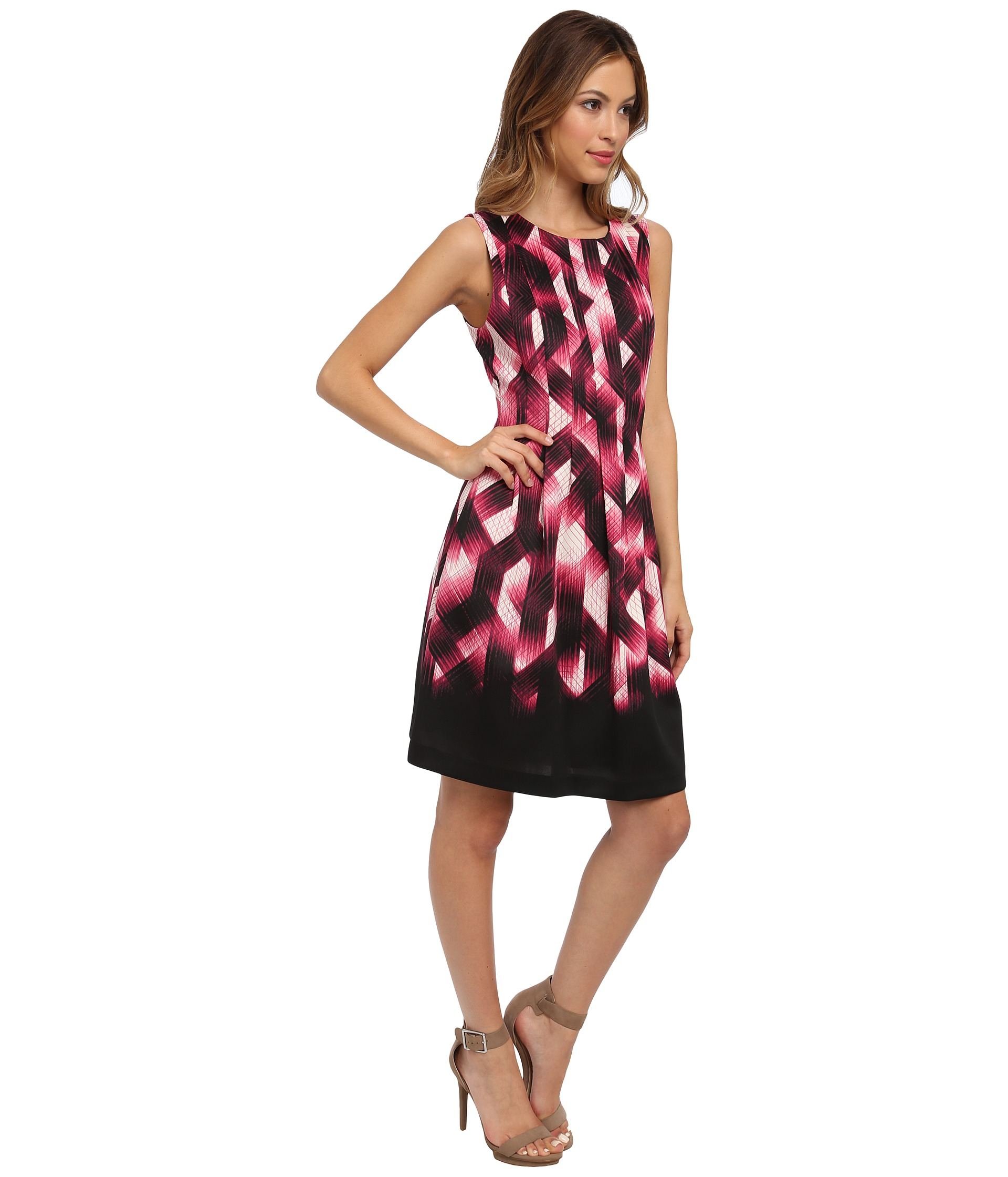 Vince Camuto Sleeveless Printed Fit Amp Flare Dress W
