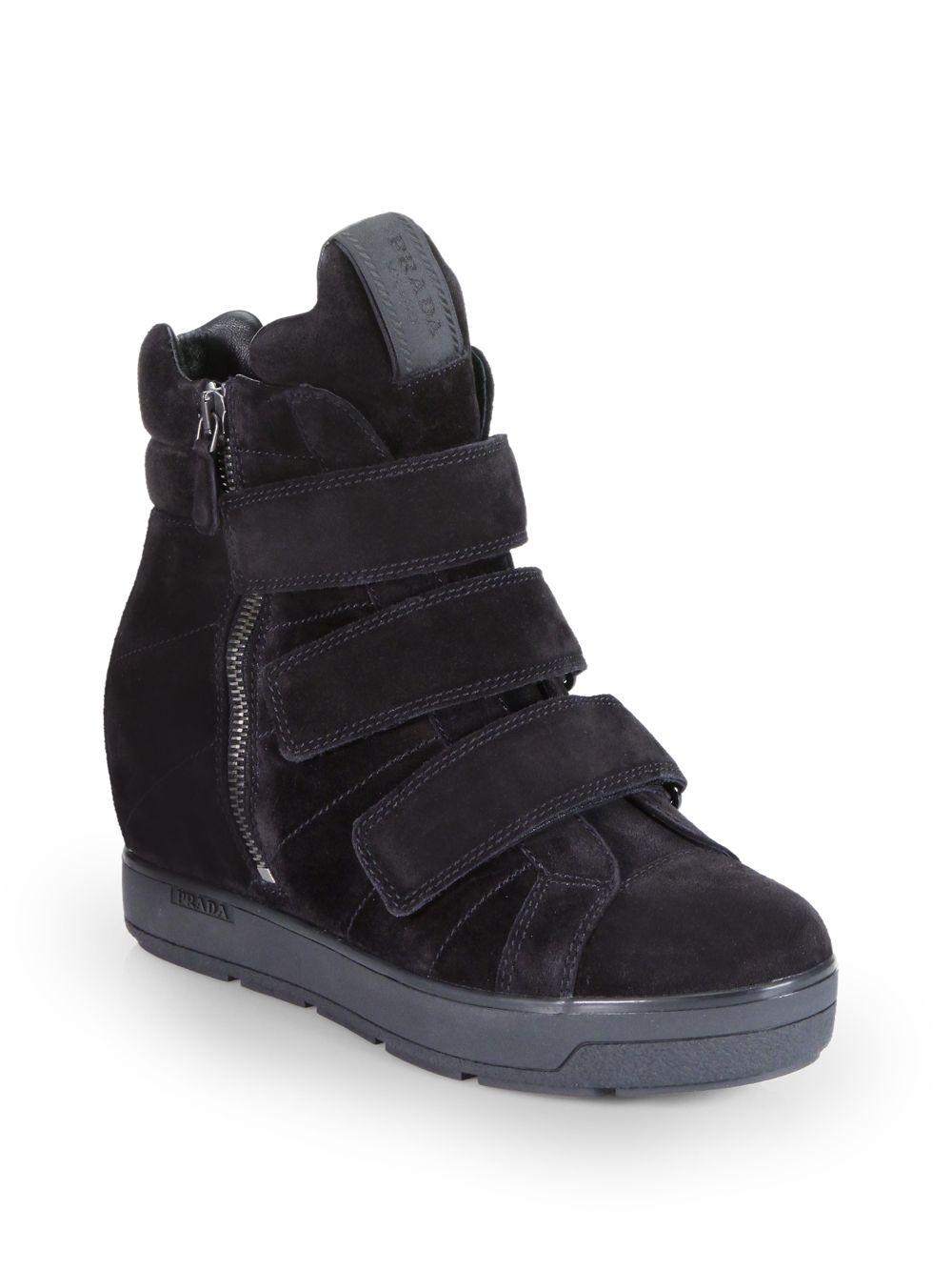 24c859af3231 Lyst - Prada Suede High-top Wedge Sneakers in Black