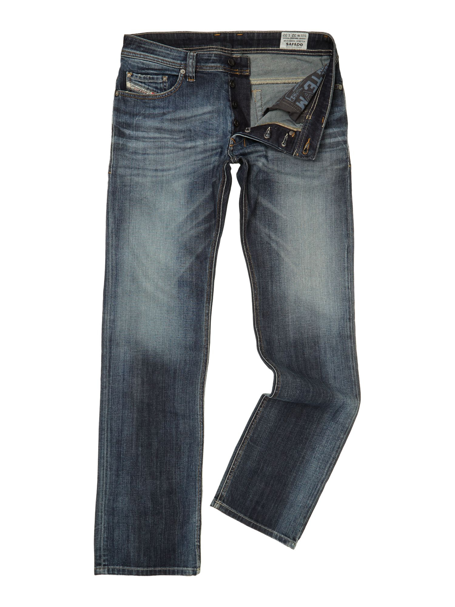 diesel safado 885k straight leg stretch jeans in blue for men lyst. Black Bedroom Furniture Sets. Home Design Ideas