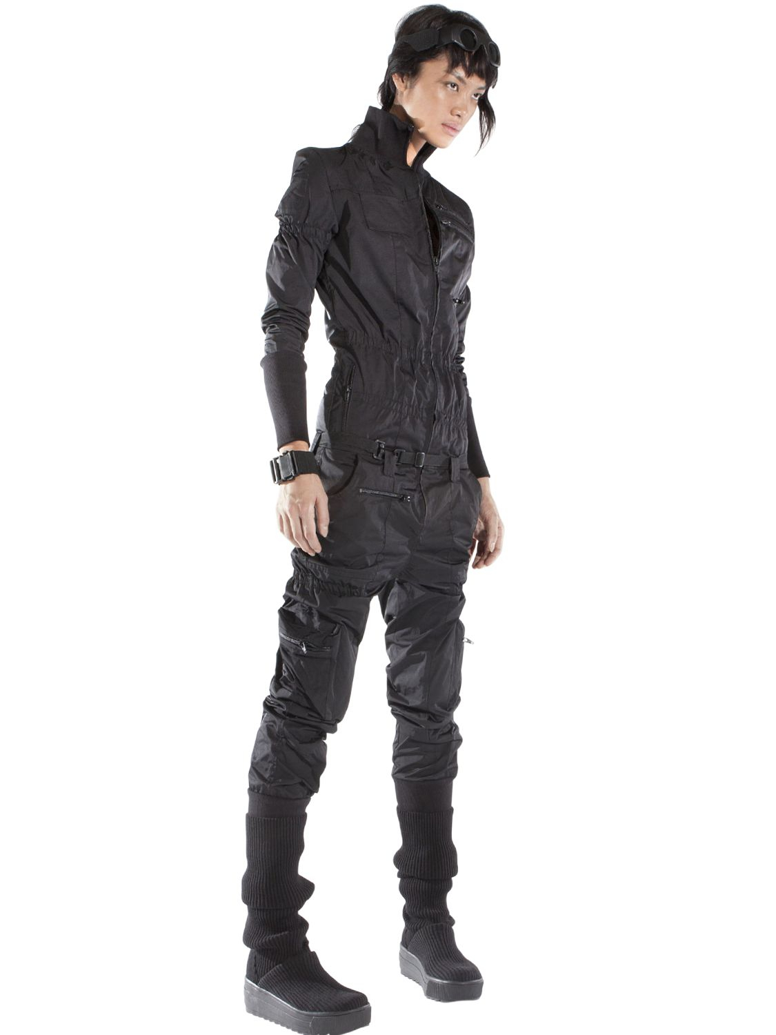 Demobaza Nylon Jumpsuit In Black Lyst
