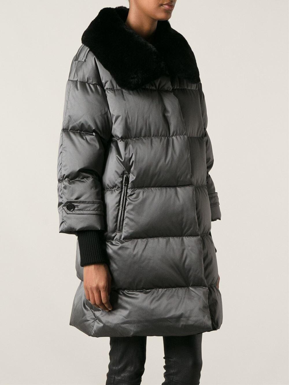 new list best choice best website Burberry Rabbit Fur Collar Padded Coat in Grey (Gray) - Lyst