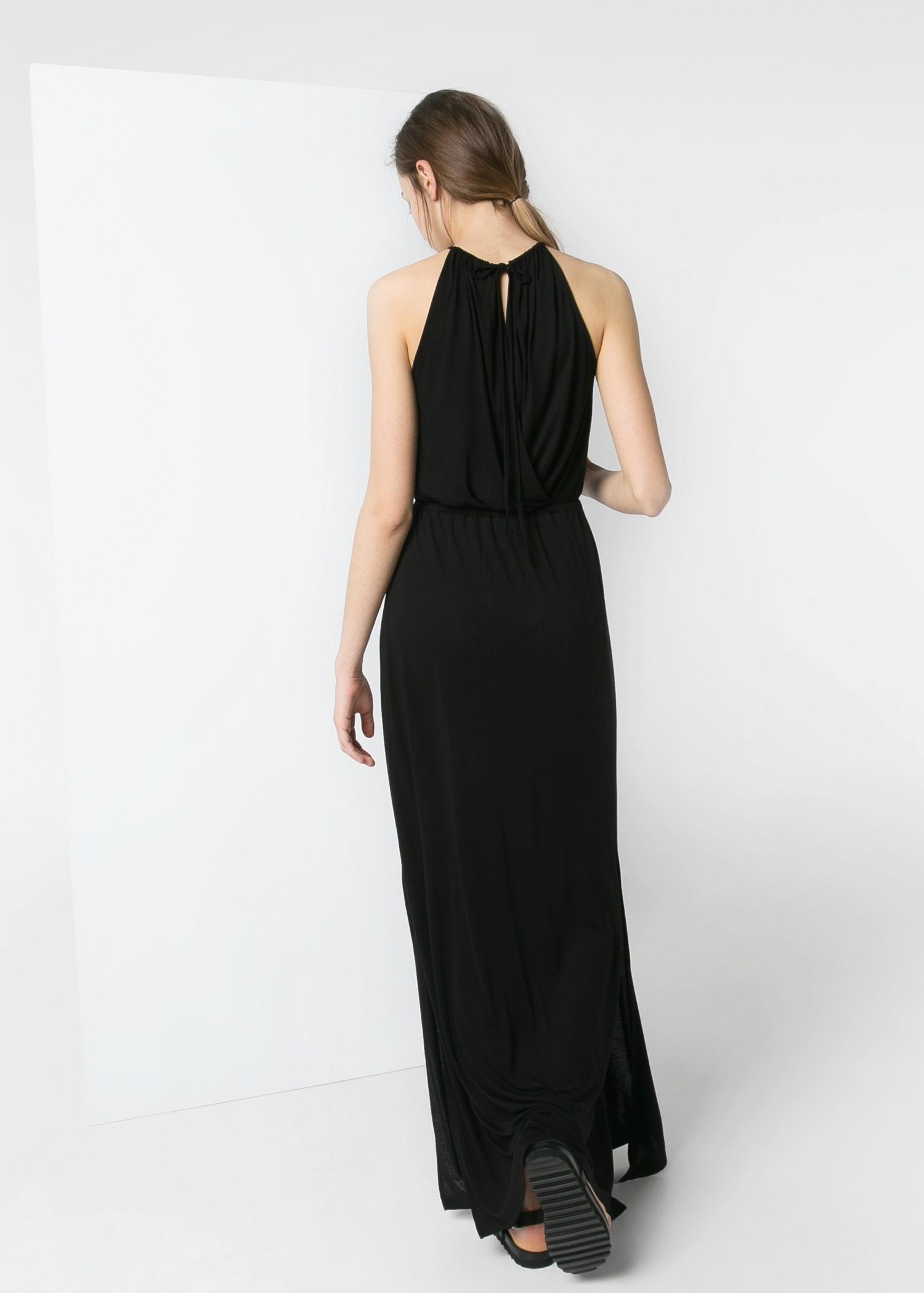 Lyst Mango Halter Long Dress In Black