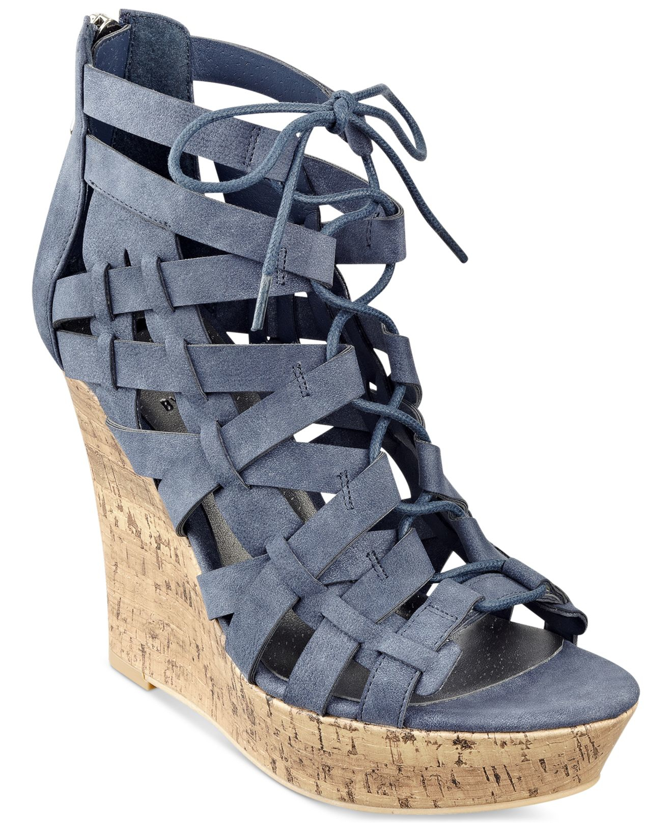 Lyst G By Guess Derby Lace Up Platform Wedge Sandals In Blue