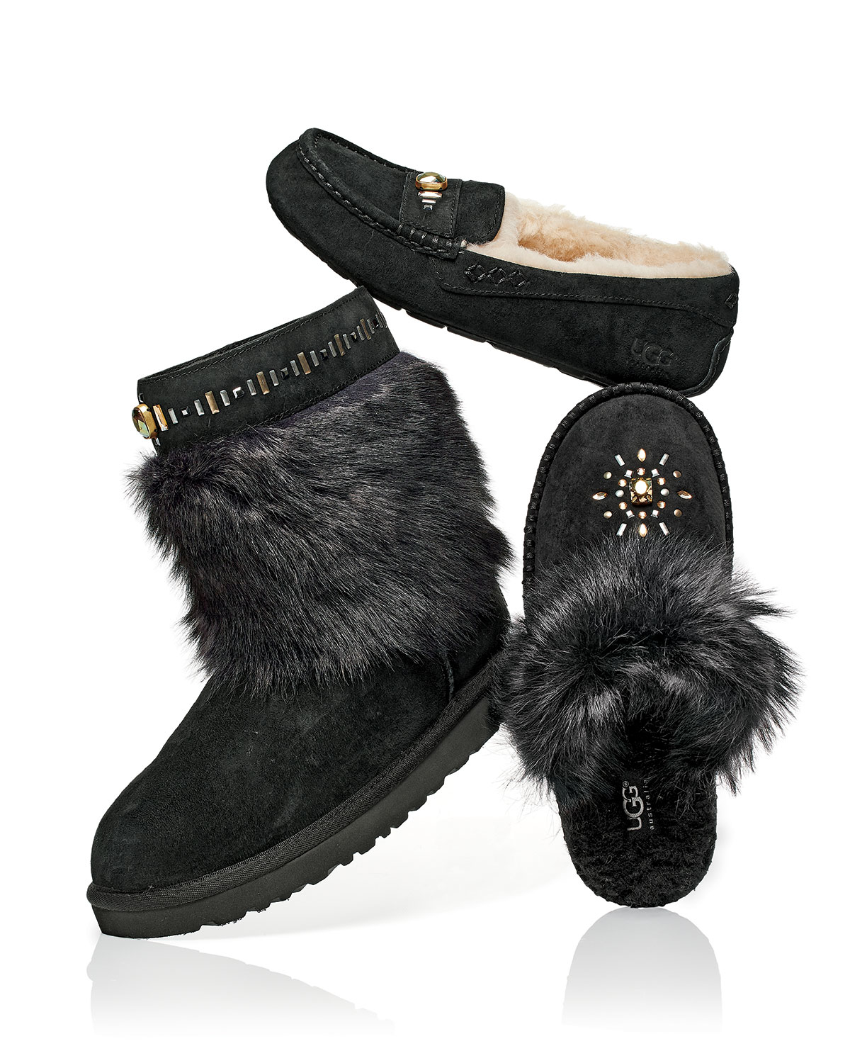 cfc6928d2a6 UGG Black Ansley Crystal Shearling Slippers