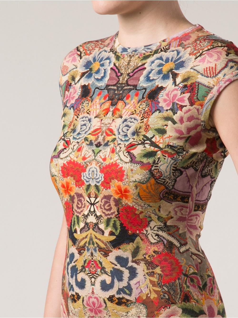 Lyst Alexander Mcqueen Floral Print Dress