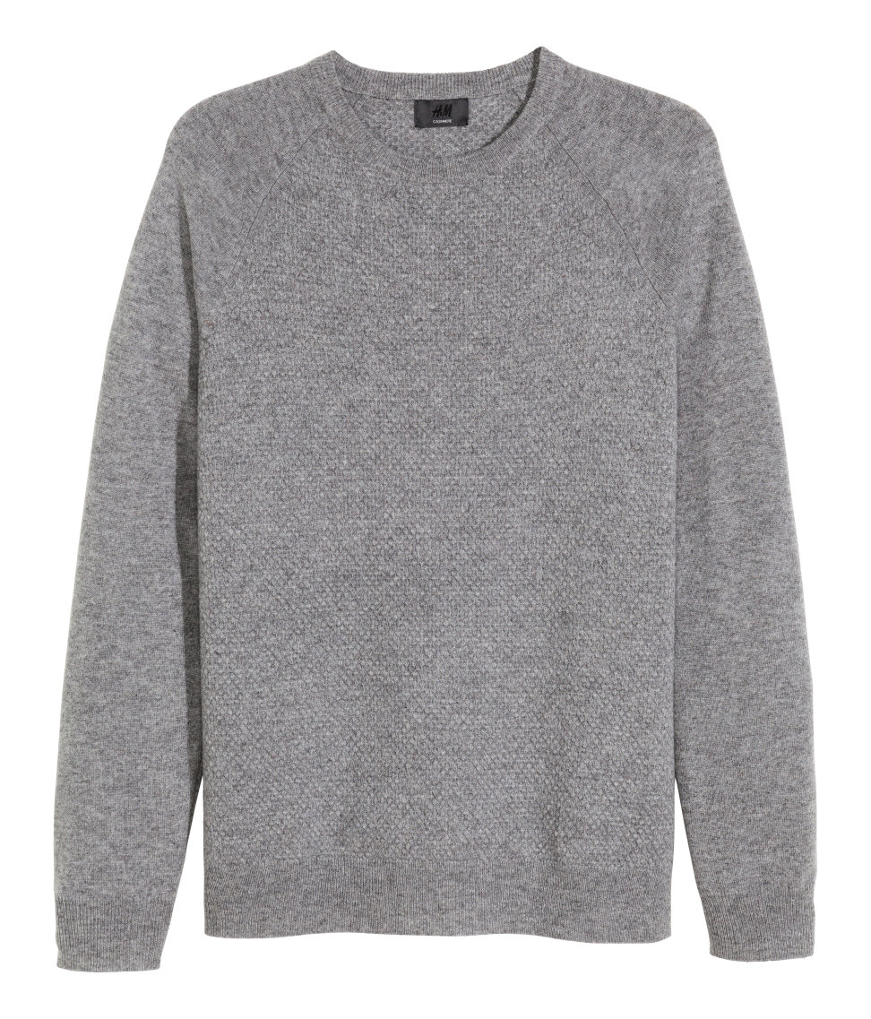 h m textured cashmere jumper in gray for men lyst