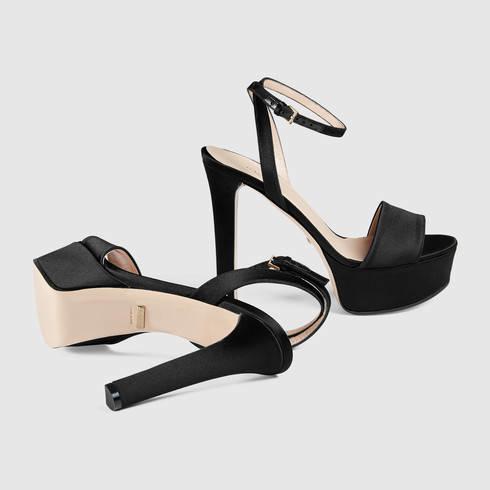 298a54702e7d Lyst - Gucci Satin Platform Sandal in Black
