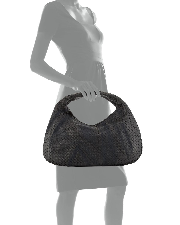 be2c1f6adb Lyst - Bottega Veneta Veneta Intrecciato Large Shadow Hobo Bag in Black