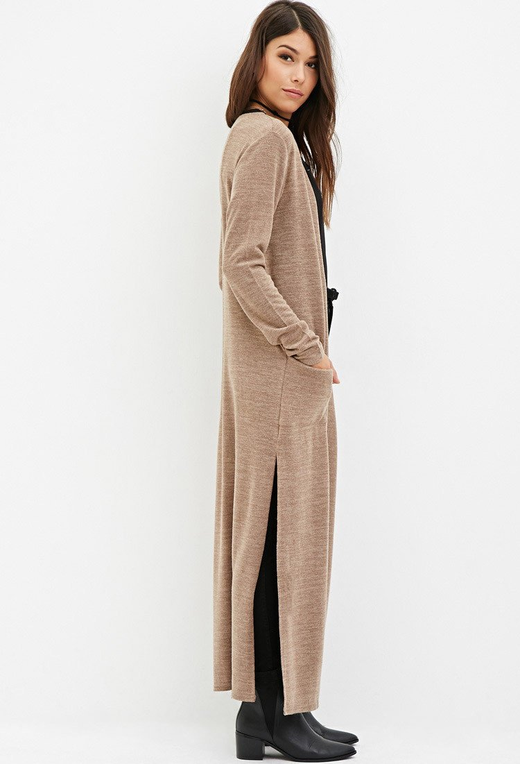 Forever 21 Side-slit Maxi Cardigan in Brown | Lyst