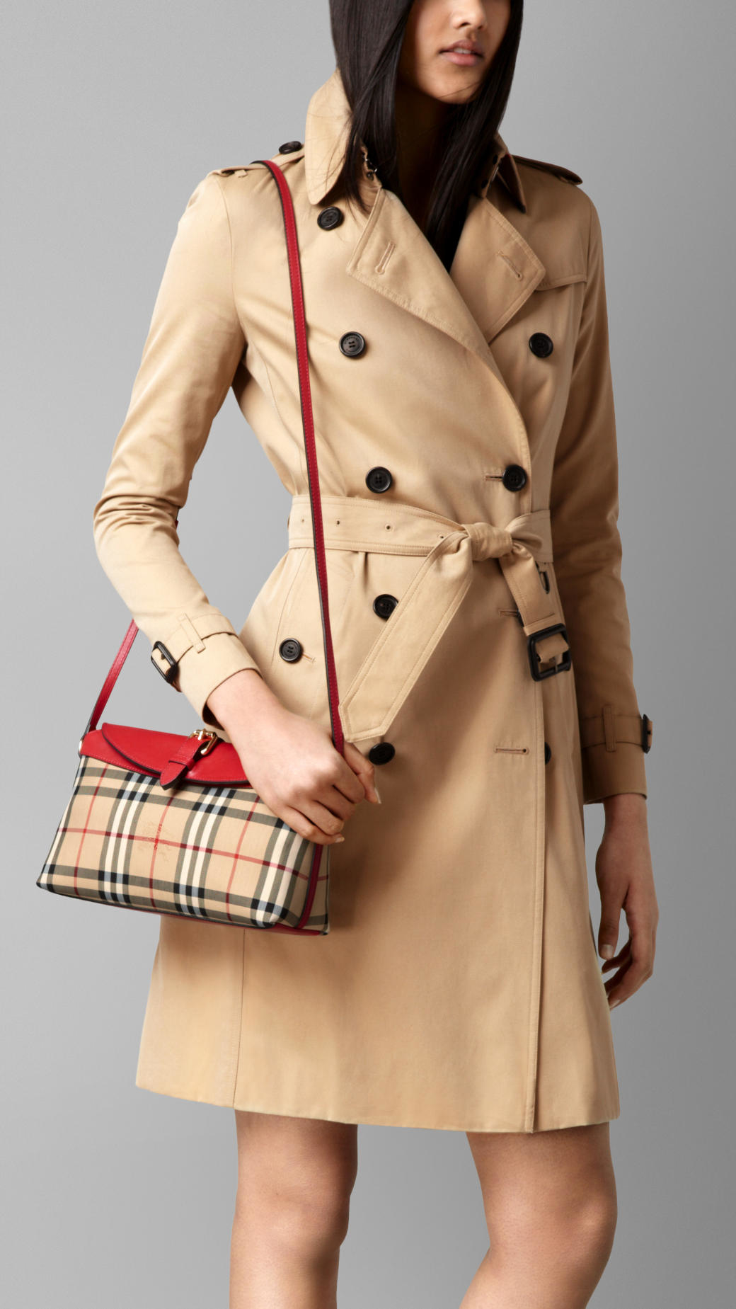 445919045c68 Lyst - Burberry Small Horseferry Check Clutch Bag Honey parade Red in  Natural