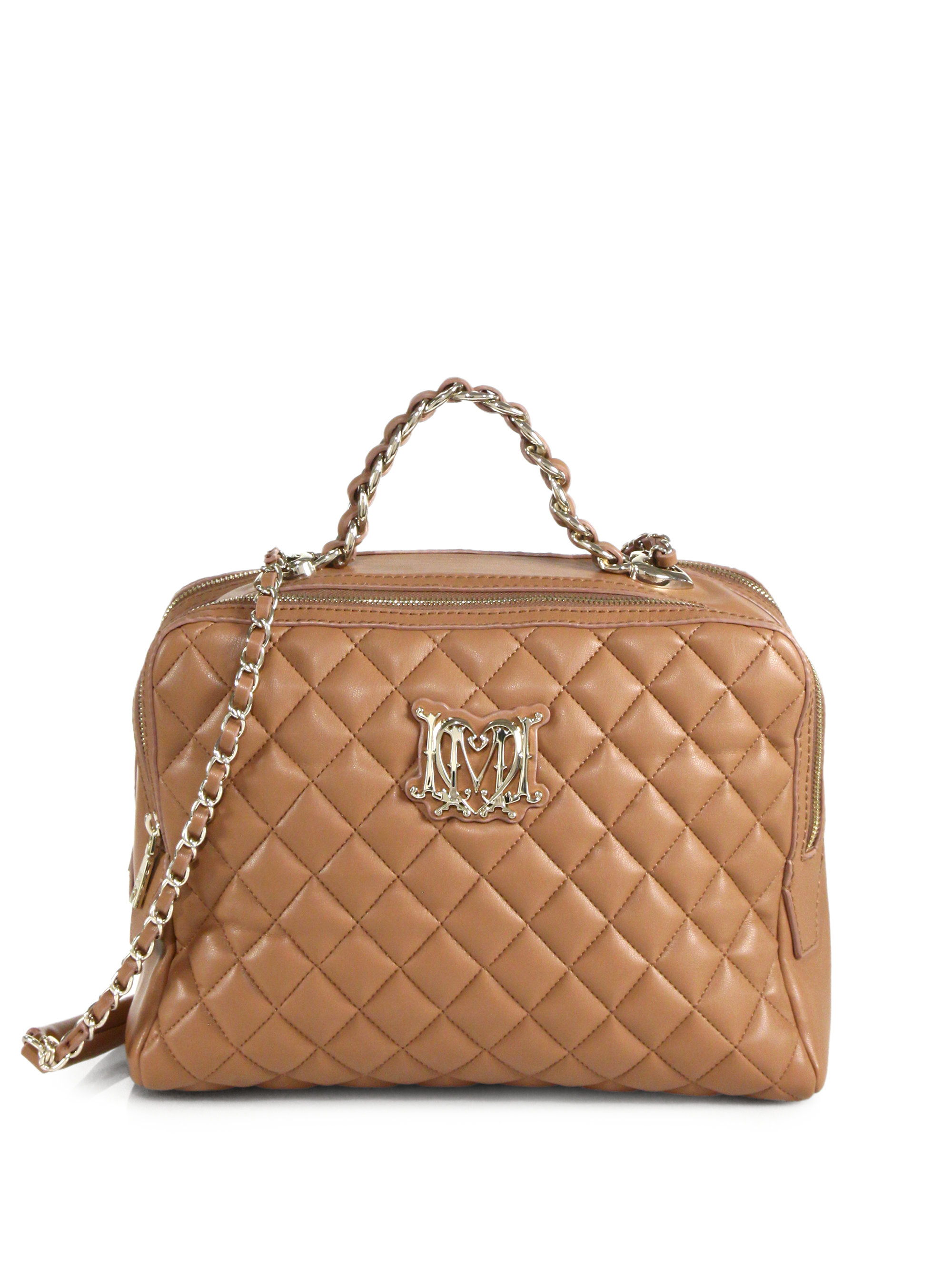 love moschino quilted borsa bag in beige lyst. Black Bedroom Furniture Sets. Home Design Ideas