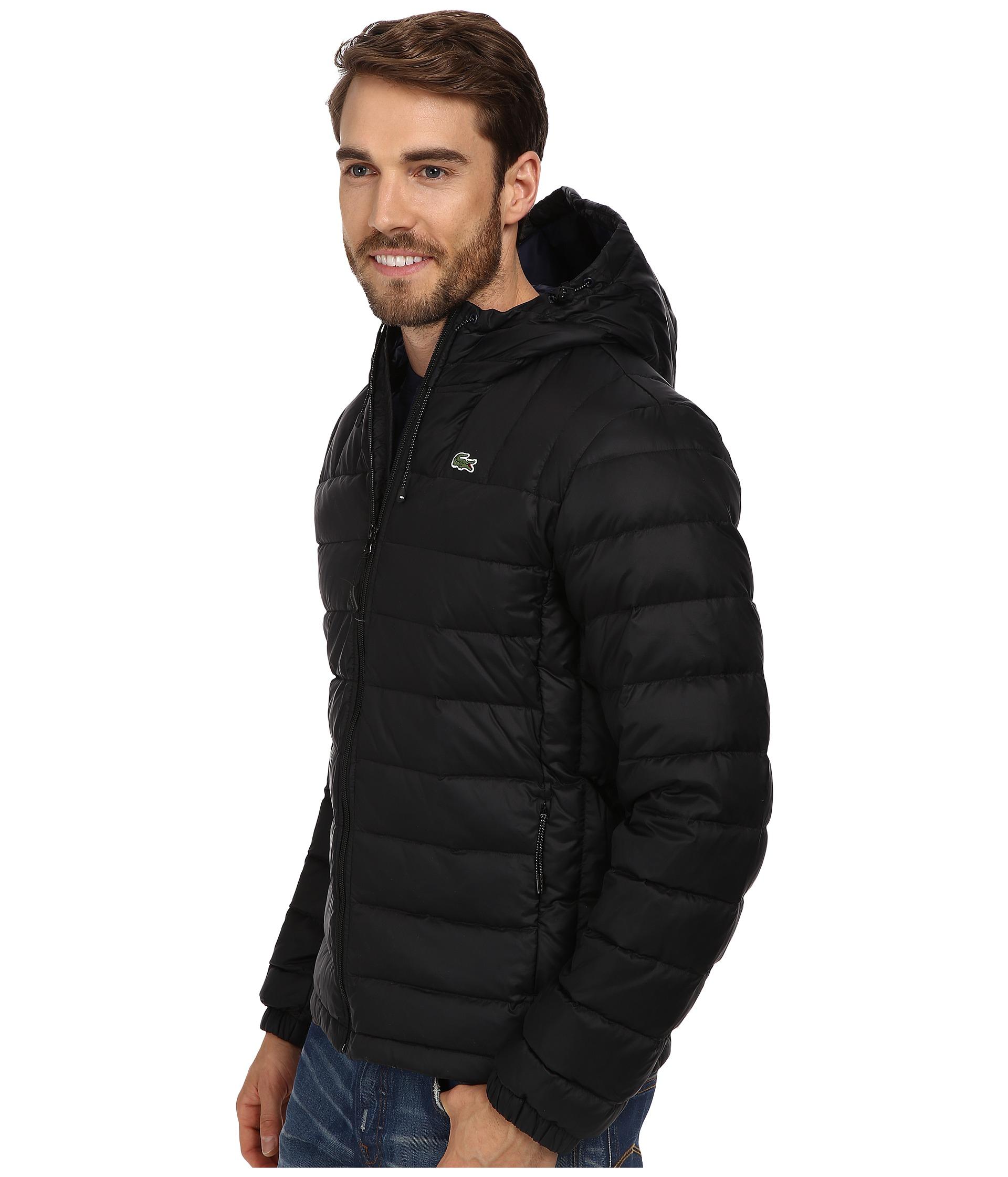 lacoste packable down jacket in black for men lyst. Black Bedroom Furniture Sets. Home Design Ideas