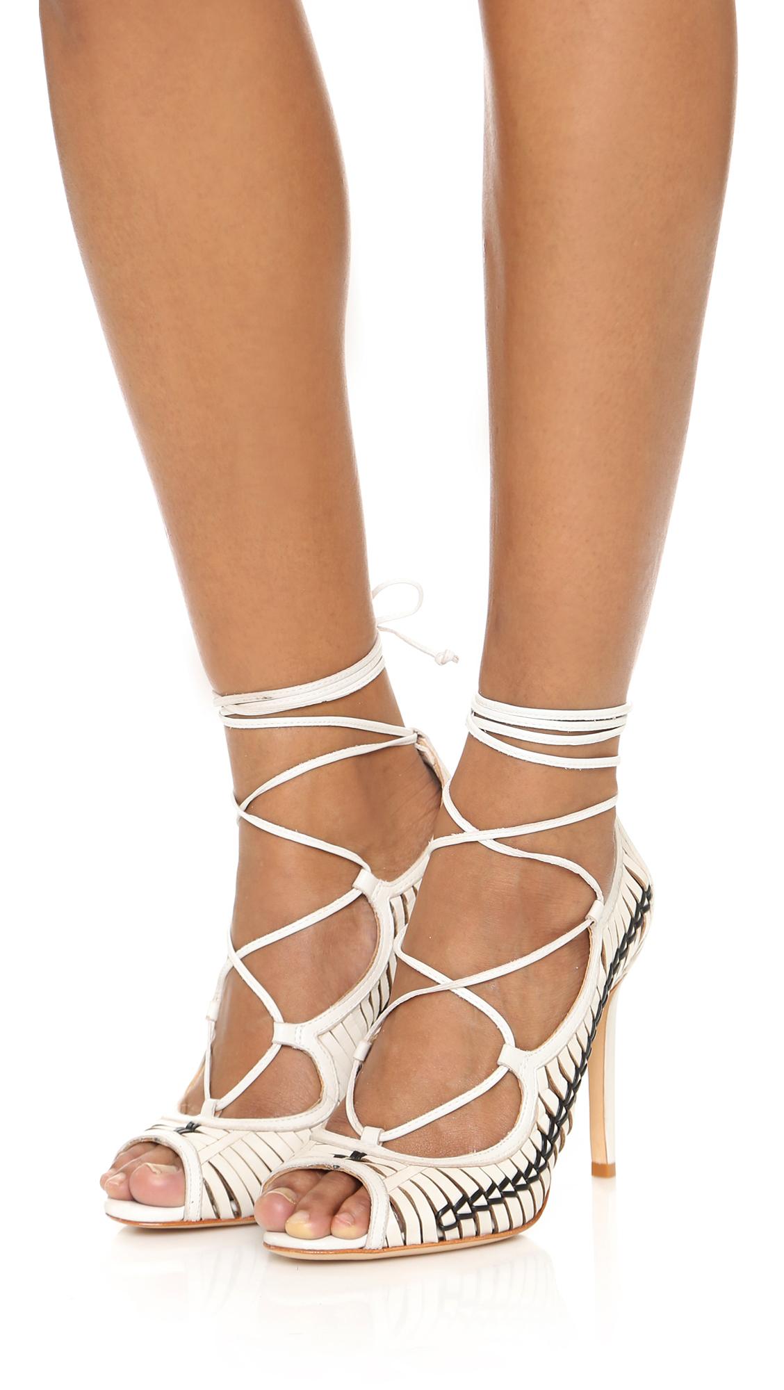 4fb451f758f Lyst - Schutz Mattie Lace Up Sandals - Pearl black in White