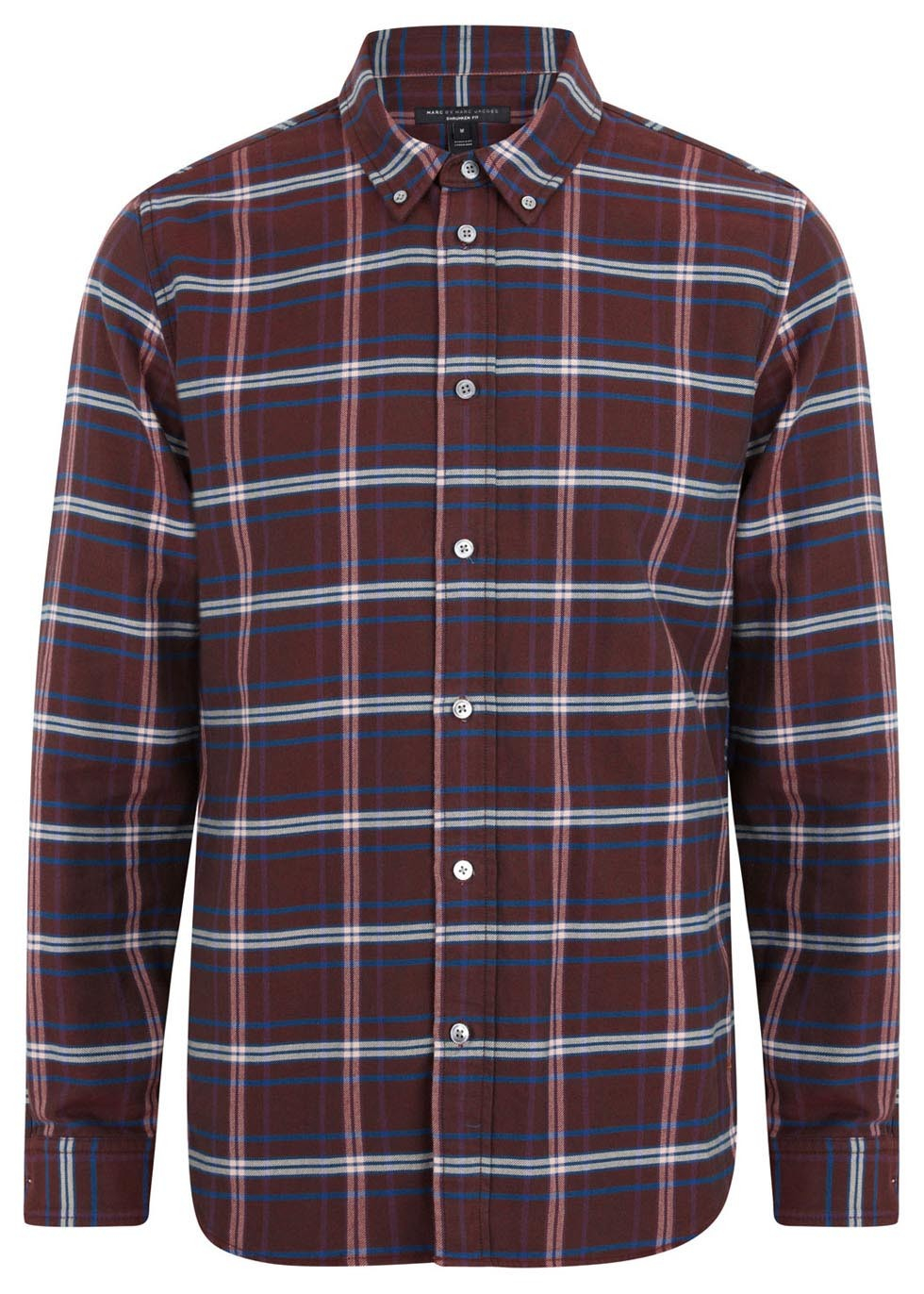 Marc by marc jacobs plum white and blue plaid cotton shirt for Red white and blue plaid shirt