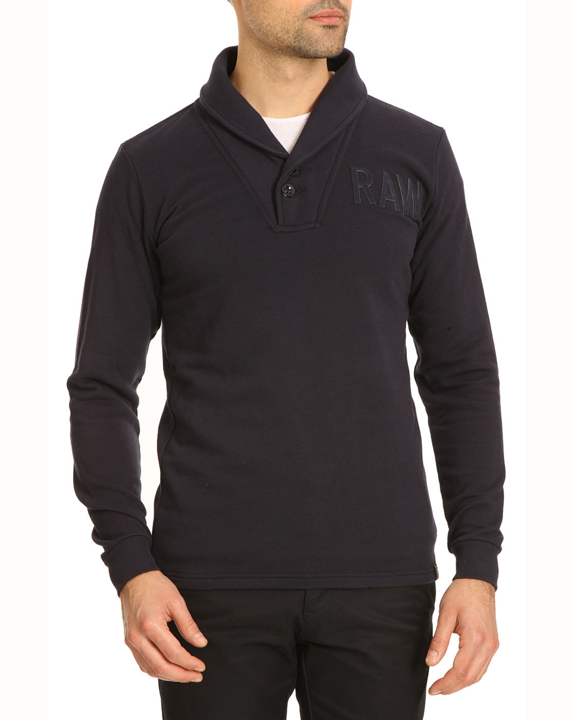 g star raw ezra art navy shawl neck sweater in blue for. Black Bedroom Furniture Sets. Home Design Ideas