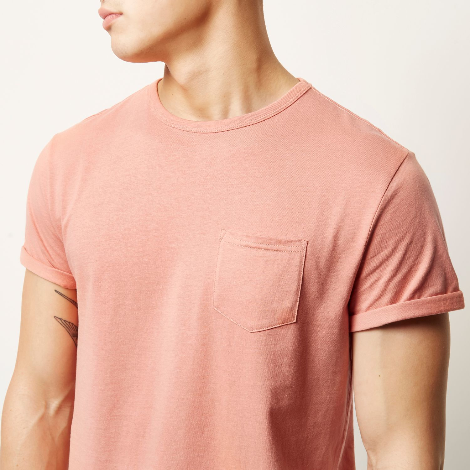 River island Salmon Pink Plain Chest Pocket T-shirt in Pink for ...