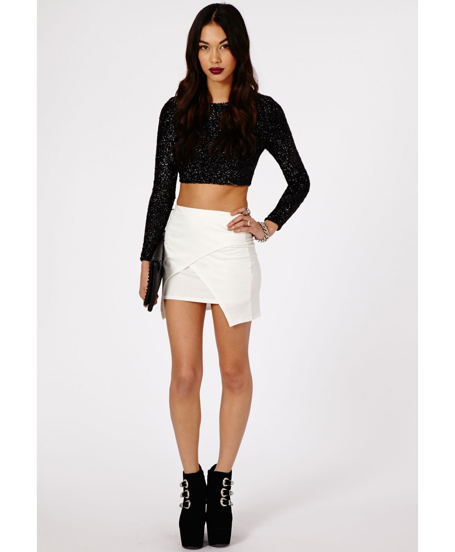 Missguided Lennia Wrap Over Mini Skirt In Cream in Natural | Lyst