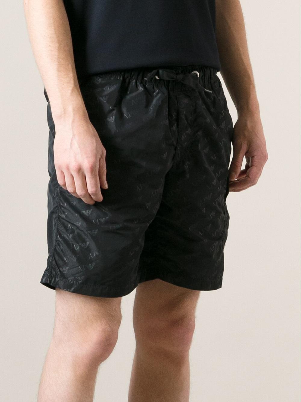 222f9f9ec7 Armani Jeans Logo-Print Swim Shorts in Black for Men - Lyst