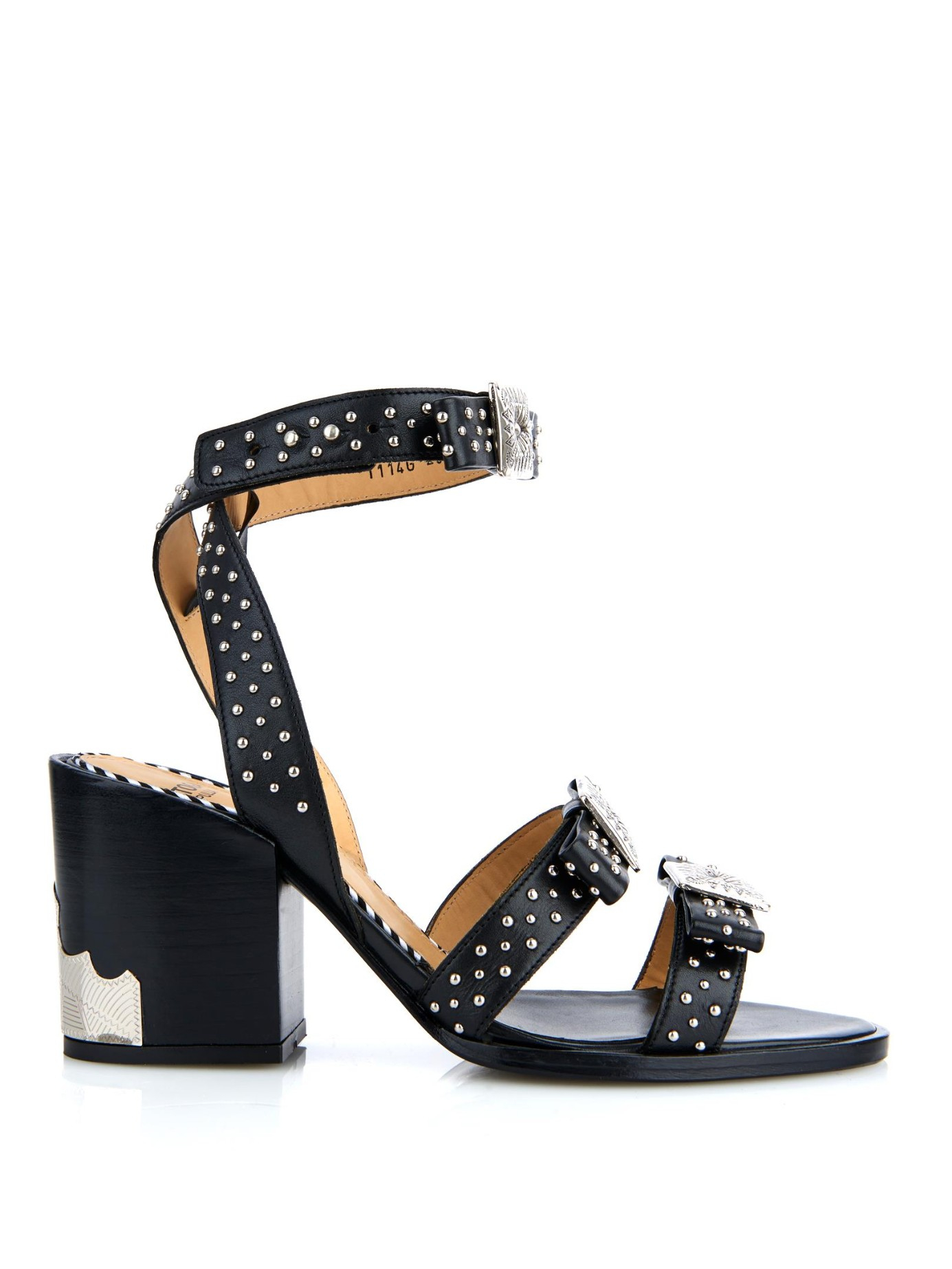 e612dea3d922 Toga Studded Leather Block-Heel Sandals in Black - Lyst