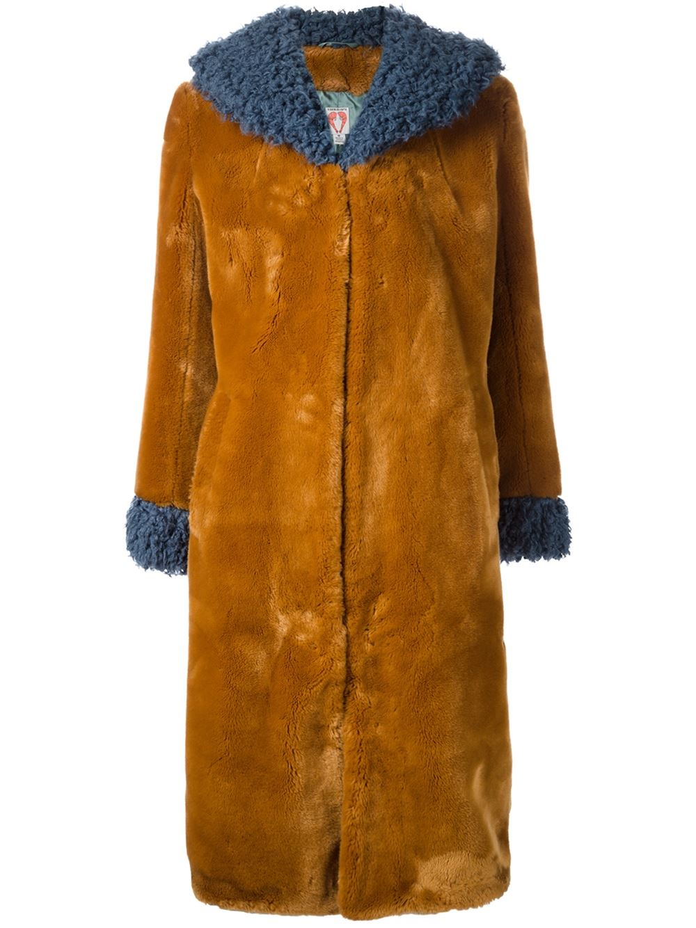 Shrimps Contrasting Collar And Cuffs Fur Coat In Brown Lyst