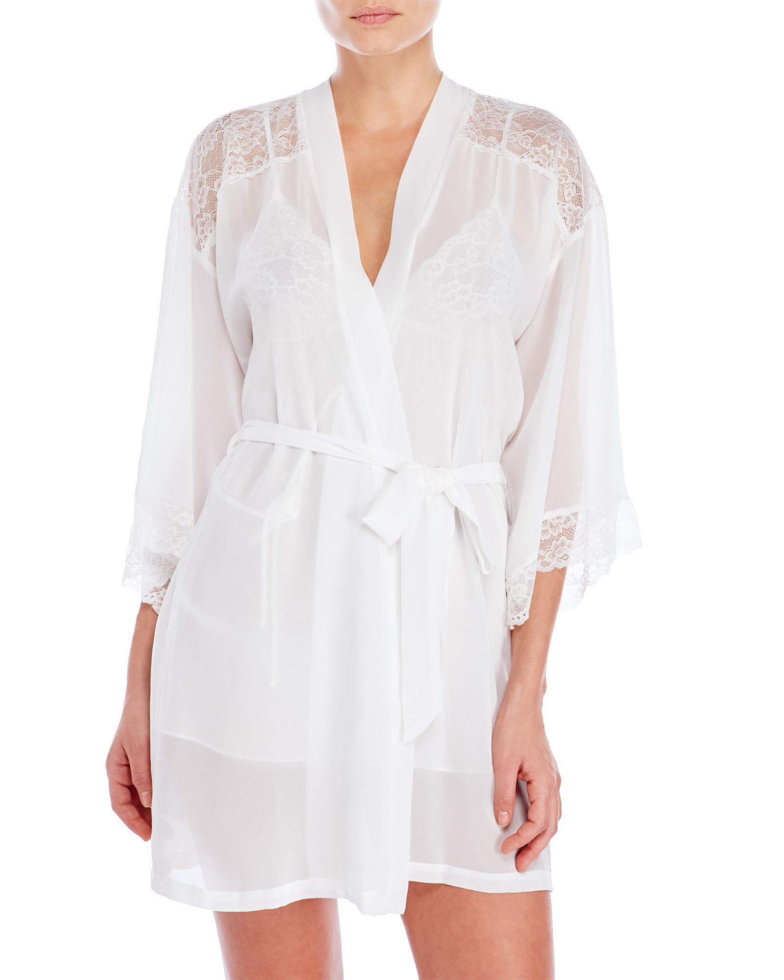 Lyst - In Bloom By Jonquil Bridal Chiffon   Lace Robe in White 0dbe56e74