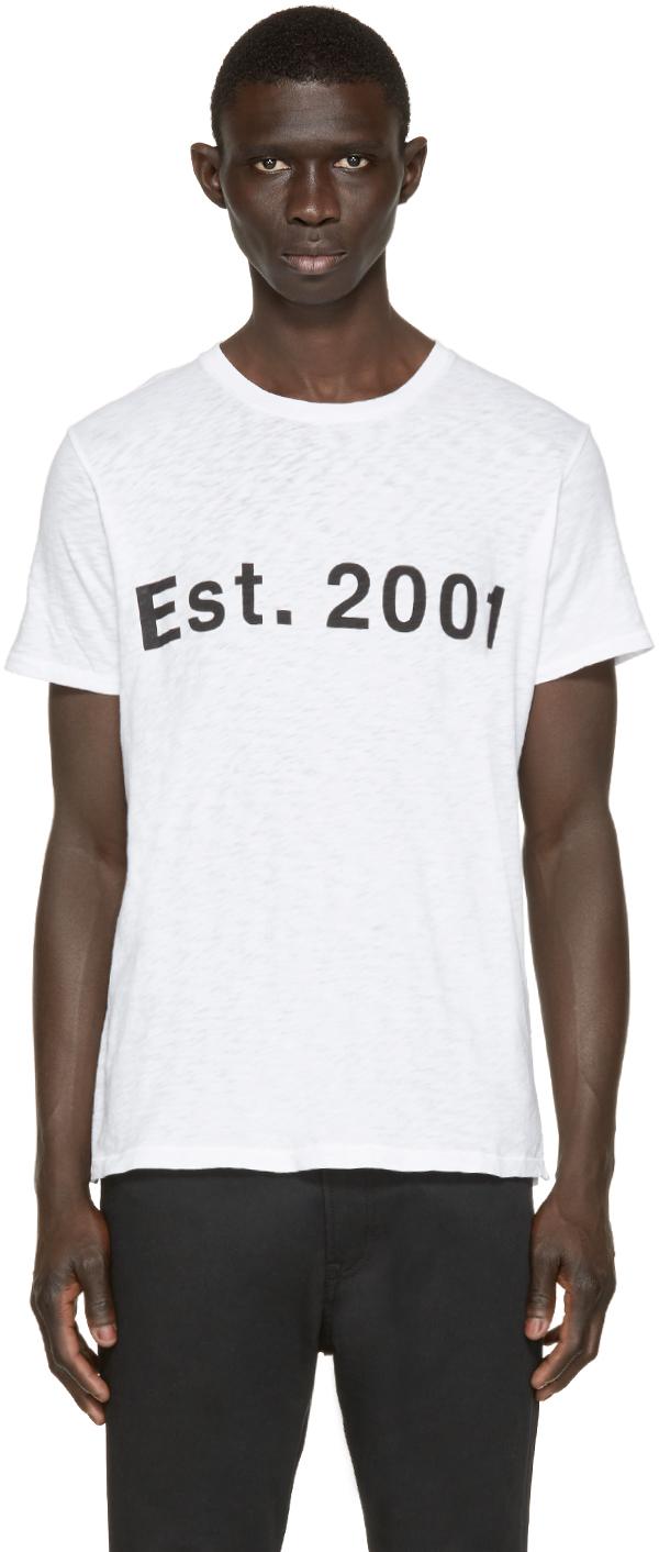 Rag bone white est 2001 t shirt in white for men lyst for Rag and bone white t shirt