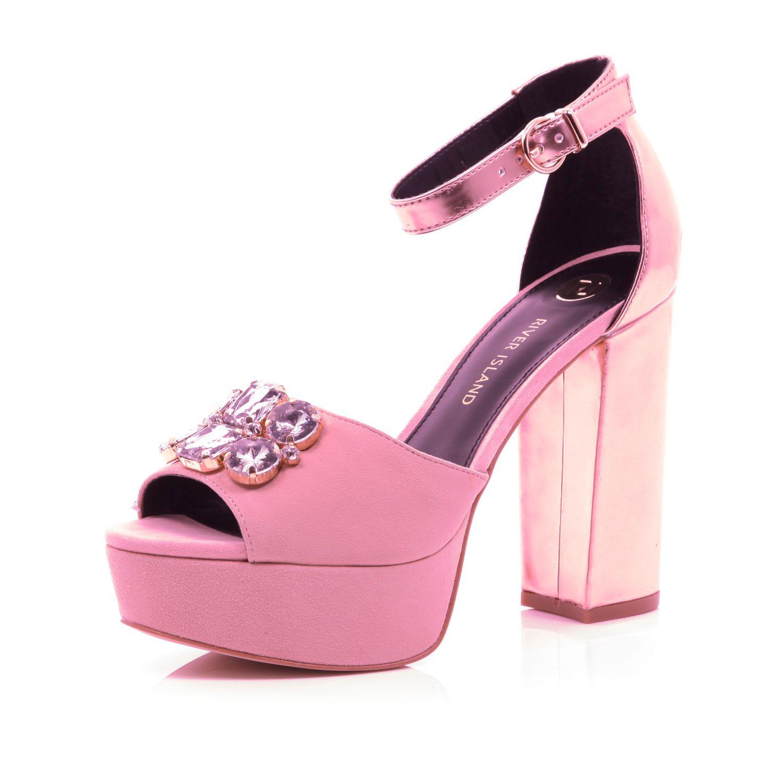cb625ef607b River Island Light Pink Embellished Platform Sandals in Pink - Lyst