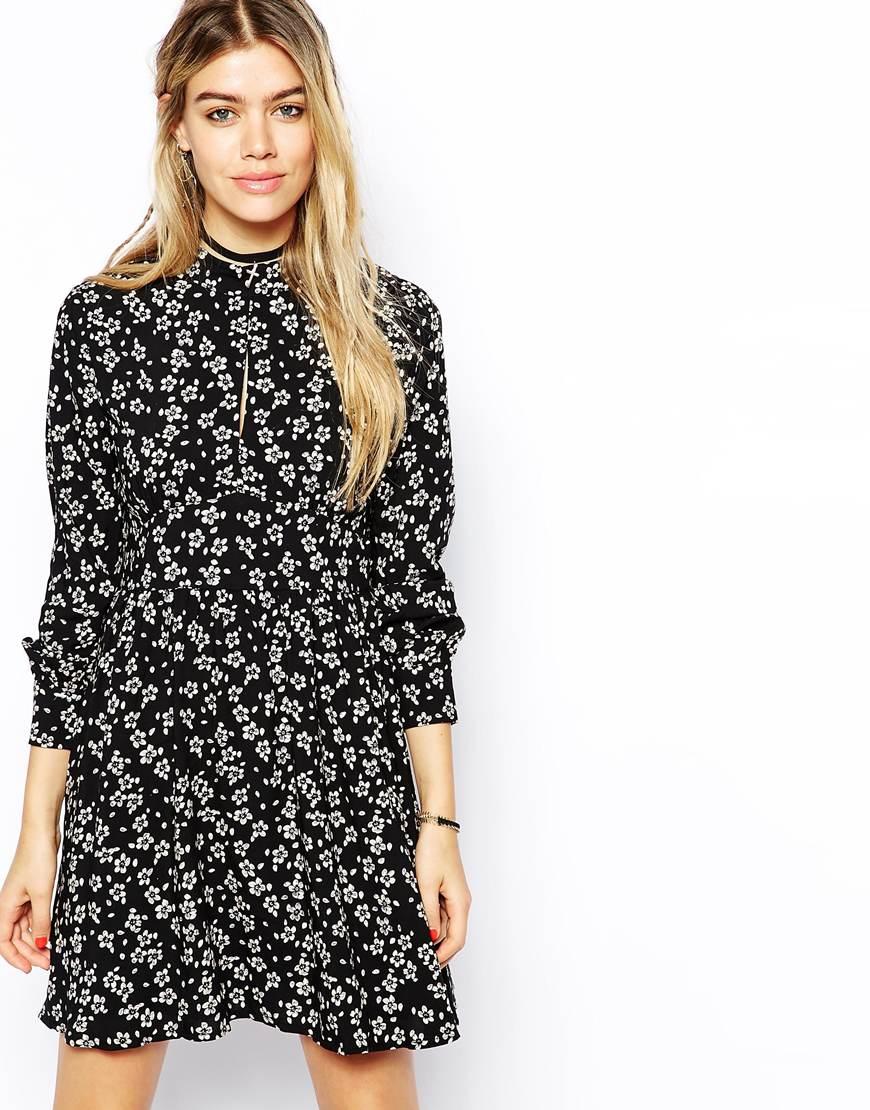 67de1c1617 Glamorous High Neck Skater Dress In Ditsy Floral Print in Black - Lyst