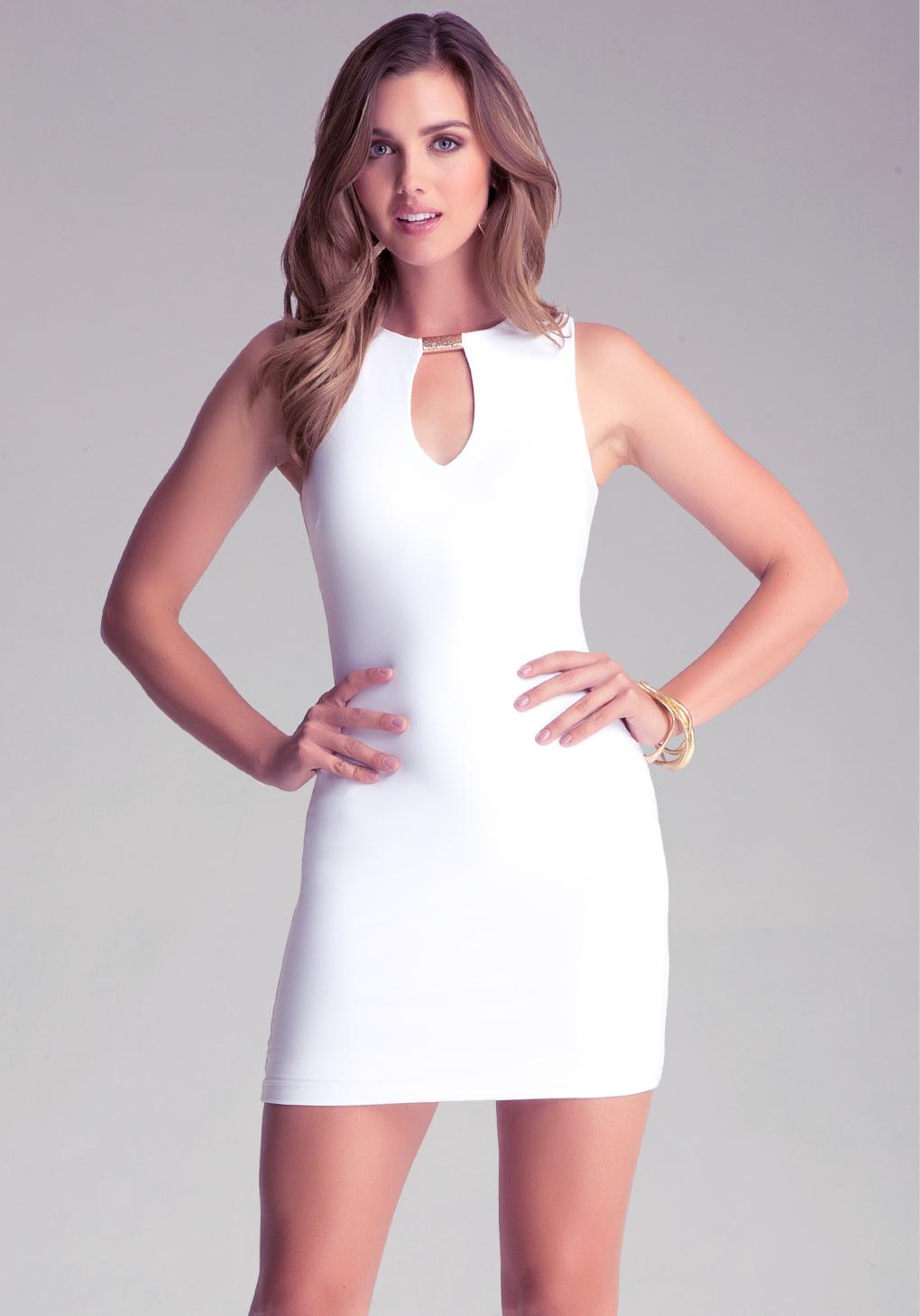 ec941f97b99 Bebe Sleeveless Keyhole Dress in White - Lyst