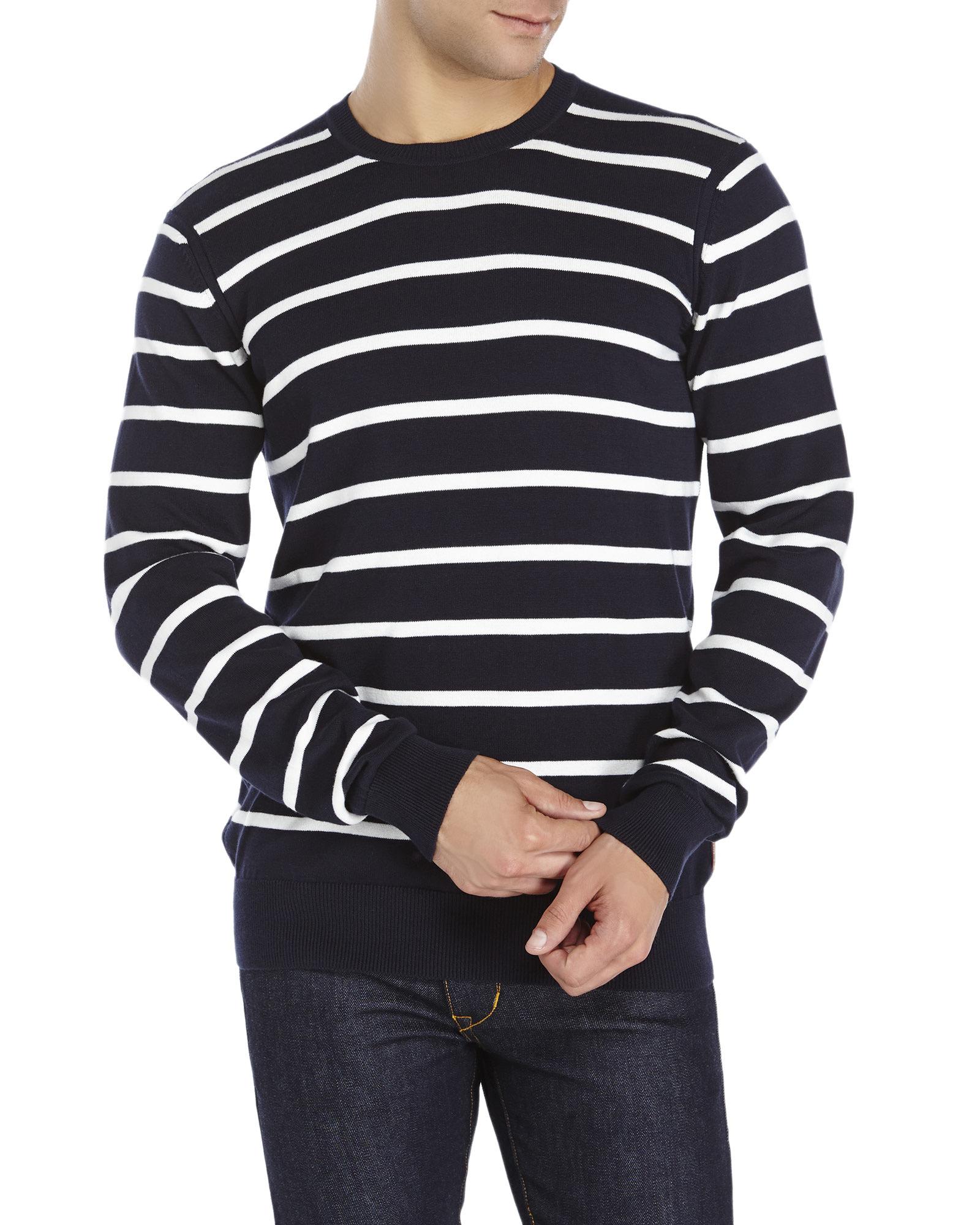 Ben sherman Navy Stripe Knit Sweater in Blue for Men | Lyst