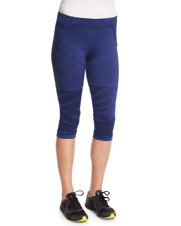 adidas by stella mccartney studio zebra print cropped sport leggings in blue lyst. Black Bedroom Furniture Sets. Home Design Ideas