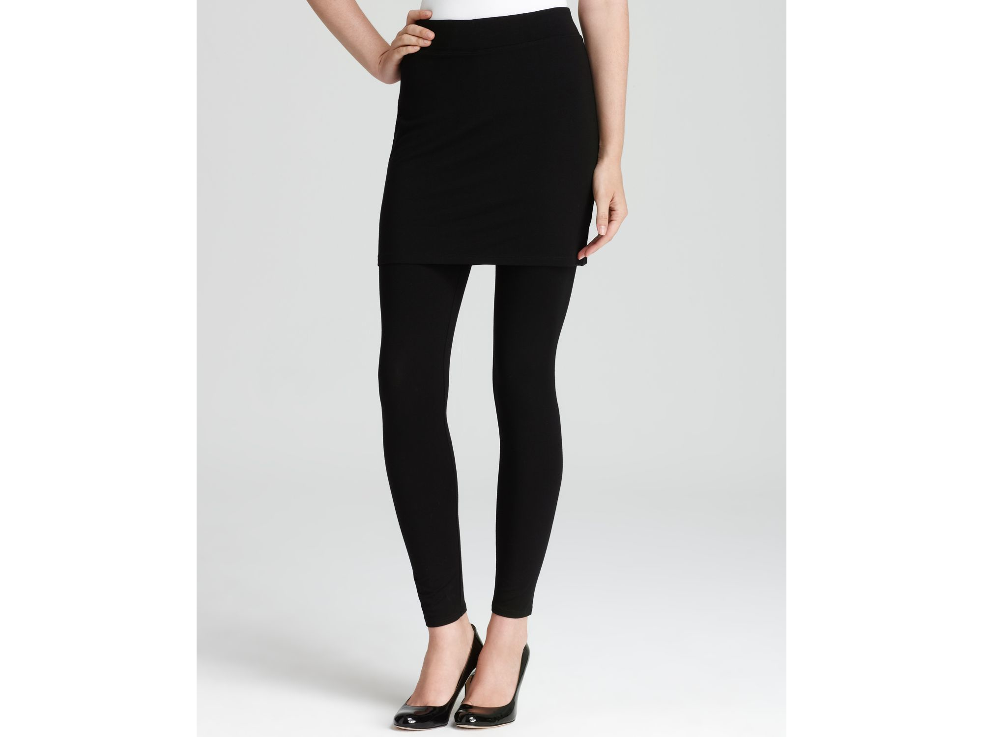 c0ff9224dd3dc Eileen Fisher Viscose Jersey Skirted Ankle Leggings in Black - Lyst