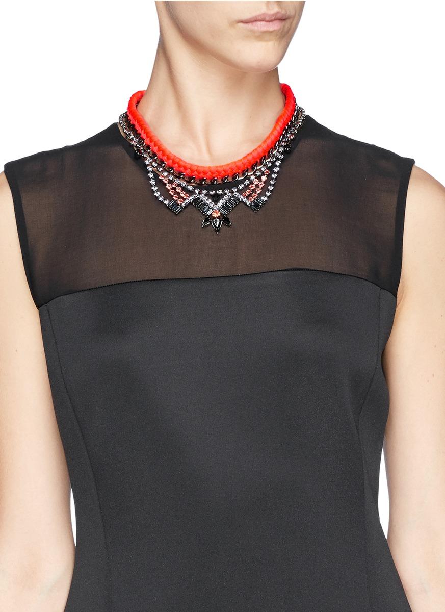 Joomi Lim 'rebel Romance' Cotton Braid Crystal Chain Necklace in Metallic